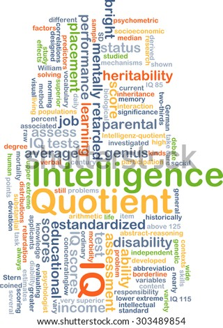 Background concept wordcloud illustration of intelligence quotient IQ