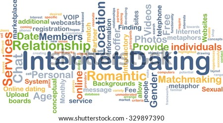 Background concept wordcloud illustration of internet dating