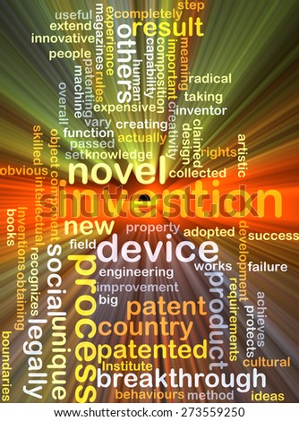 Background concept wordcloud illustration of invention glowing light - stock photo