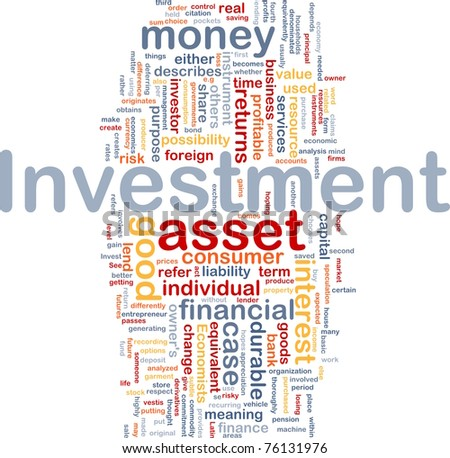 Background concept wordcloud illustration of investment