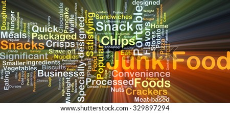 Background concept wordcloud illustration of junk food glowing light - stock photo