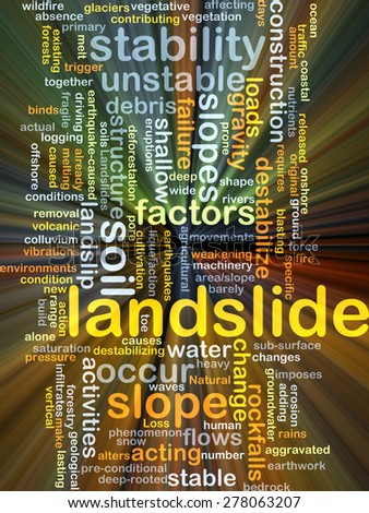 Background concept wordcloud illustration of landslide glowing light