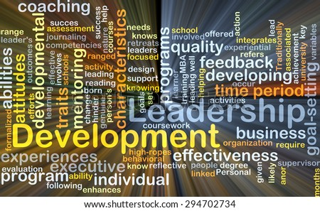 Background concept wordcloud illustration of leadership development glowing light - stock photo