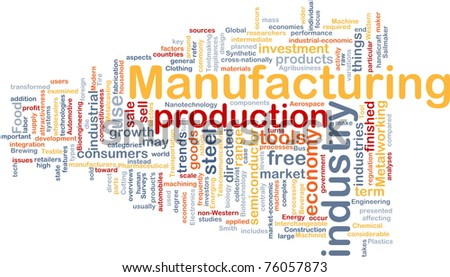 Background concept wordcloud illustration of manufacturing