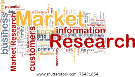 Background concept wordcloud illustration of market research - stock photo