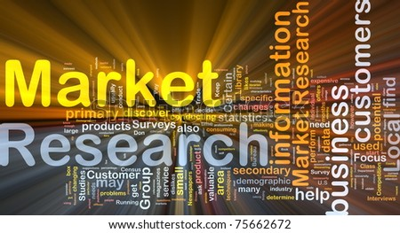 Background concept wordcloud illustration of market research glowing light - stock photo