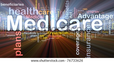 Background concept wordcloud illustration of medicare glowing light - stock photo