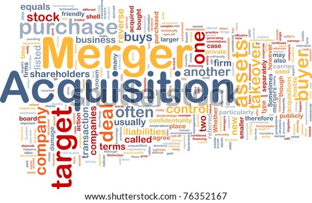 Background concept wordcloud illustration of merger acquisition - stock photo
