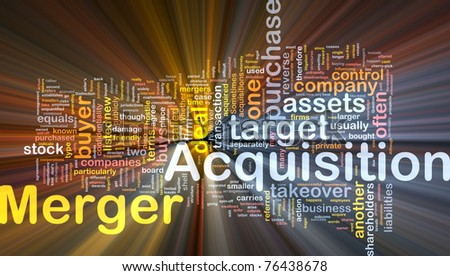 Background concept wordcloud illustration of merger acquisition glowing light - stock photo
