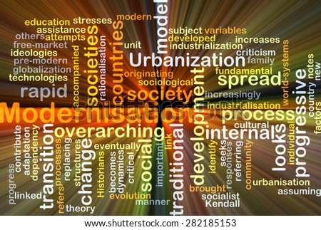 Background concept wordcloud illustration of modernisation glowing light