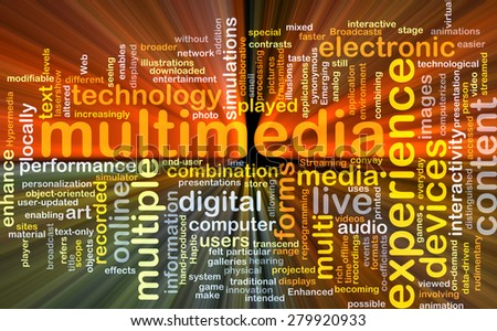 Background concept wordcloud illustration of multimedia glowing light