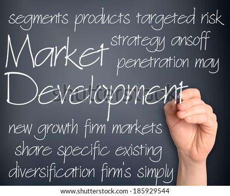 Background concept wordcloud illustration of new market development handwritten on dark background - stock photo