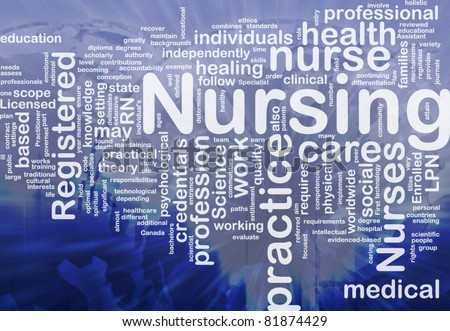 Background concept wordcloud illustration of nursing international - stock photo