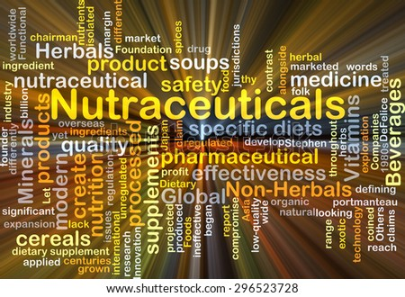 Background concept wordcloud illustration of nutraceuticals glowing light - stock photo