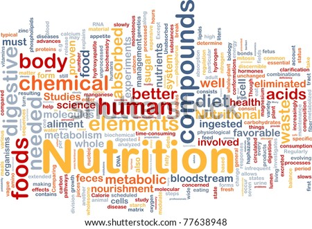 Background concept wordcloud illustration of nutrition food health - stock photo