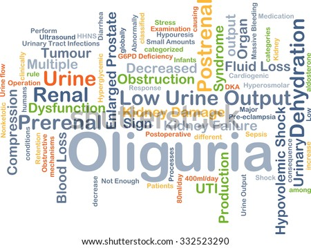 Background concept wordcloud illustration of oliguria