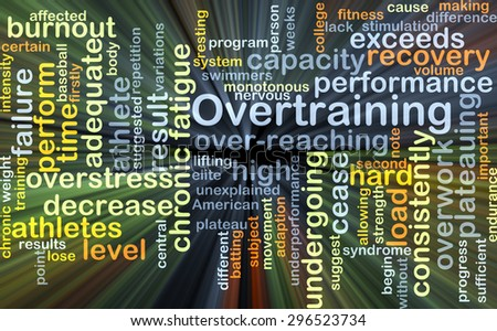 Background concept wordcloud illustration of overtraining glowing light - stock photo