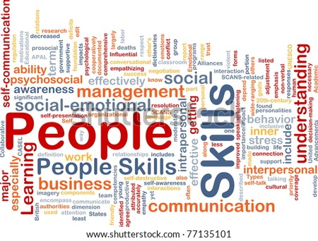 Background concept wordcloud illustration of people skills - stock photo