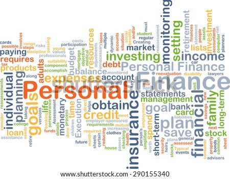 Background concept wordcloud illustration of personal finance - stock photo
