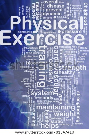 Background concept wordcloud illustration of physical exercise international - stock photo