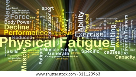 Background concept wordcloud illustration of physical fatigue glowing light