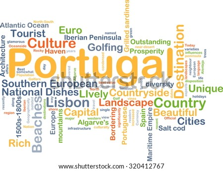 Background concept wordcloud illustration of Portugal