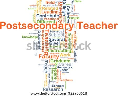Background concept wordcloud illustration of postsecondary teacher - stock photo