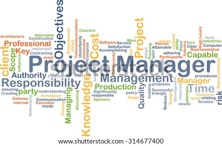 Background concept wordcloud illustration of project manager