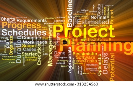Background concept wordcloud illustration of project planning glowing light - stock photo