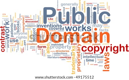 Background concept wordcloud illustration of public domain work - stock photo