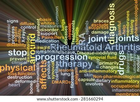 Background concept wordcloud illustration of rheumatoid arthritis RA glowing light - stock photo