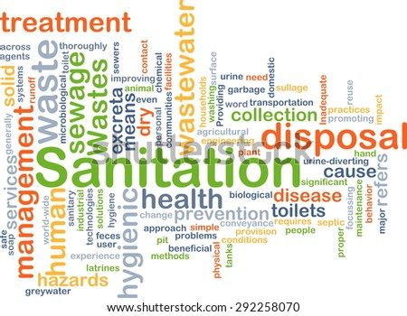 Background concept wordcloud illustration of sanitation - stock photo