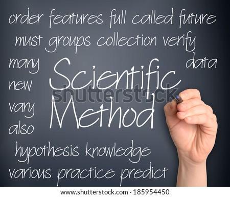 Background concept wordcloud illustration of scientific method handwritten on dark background - stock photo