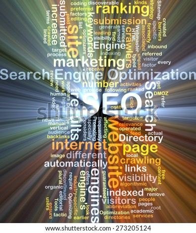 Background concept wordcloud illustration of search engine optimization SEO glowing light - stock photo