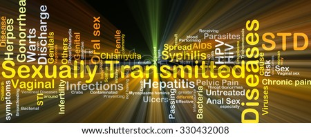 Background concept wordcloud illustration of sexually transmitted disease STD glowing light - stock photo