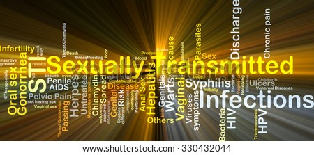 Background concept wordcloud illustration of sexually transmitted infections STI glowing light - stock photo