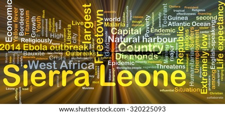 Background concept wordcloud illustration of Sierra Leone glowing light