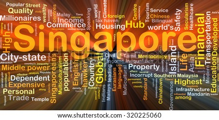 Background concept wordcloud illustration of Singapore glowing light