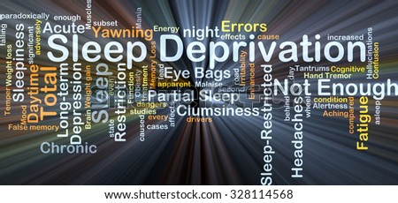 Background concept wordcloud illustration of sleep deprivation glowing light