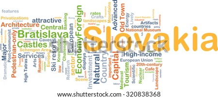 Background concept wordcloud illustration of Slovakia - stock photo