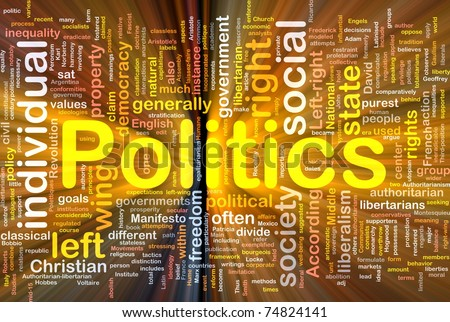 Background concept wordcloud illustration of social individual politics glowing light - stock photo