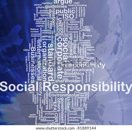 Background concept wordcloud illustration of social responsibility international - stock photo