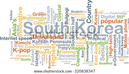 Background concept wordcloud illustration of South Korea