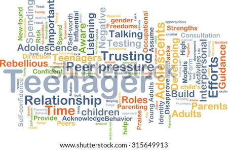 Background concept wordcloud illustration of teenager