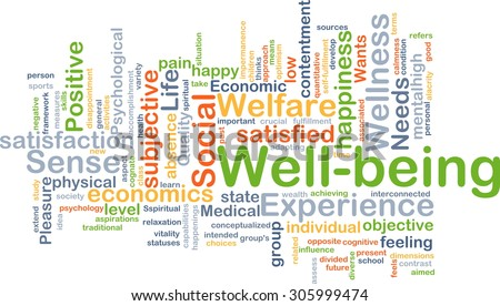 Background concept wordcloud illustration of well-being - stock photo