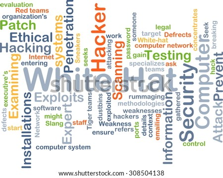 Background concept wordcloud illustration of white hat - stock photo