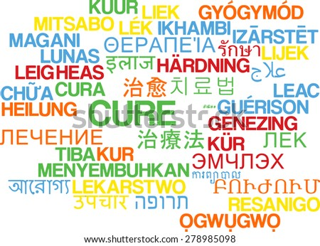 Background concept wordcloud multilanguage international many language illustration of cure