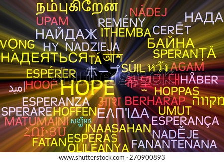 Background concept wordcloud multilanguage international many language illustration of hope glowing light