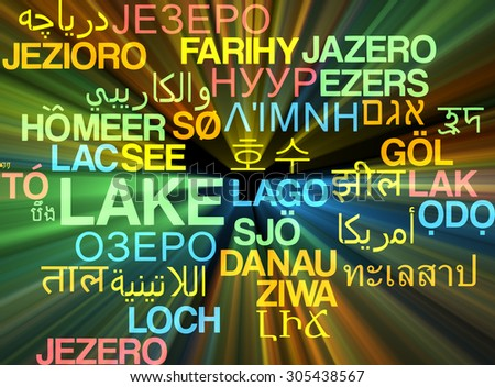 Background concept wordcloud multilanguage international many language illustration of lake glowing light