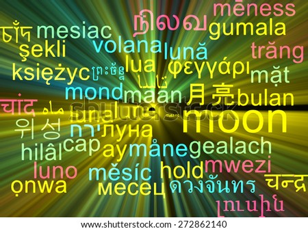 Background concept wordcloud multilanguage international many language illustration of moon glowing light